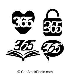 黒, アイコン, 連絡, 錠, ロゴ, 愛, 無限点, イラスト, 365, 本