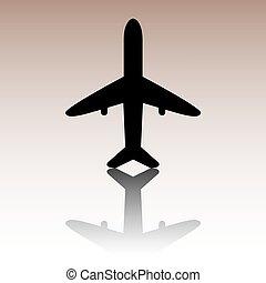 黒, アイコン, 飛行機, ベクトル