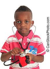 黒, アフリカ系アメリカ人の子供, ∥で∥, 聴診器, そして, 自動車