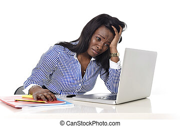 黒, アフリカ系アメリカ人の民族性, 失望させられた, 女, 仕事, 中に, ストレス, ∥において∥, オフィス