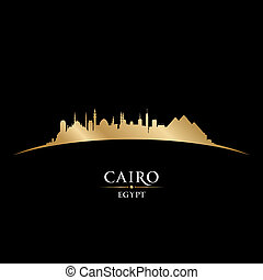 黒, エジプト, 背景, カイロ, スカイライン, 都市, シルエット