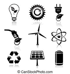 黒, エネルギー, エコロジー, セット, アイコン