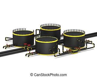 黒, オイル貯蔵, タンク