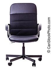 黒, オフィス椅子, 隔離された