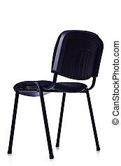 黒, オフィス椅子, 隔離された, 白
