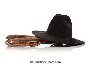 黒, カウボーイ帽子, ∥で∥, lasso/lariat, 白