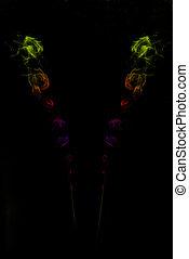黒, カラフルである, 煙