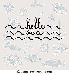 黒, カリグラフィー, text., こんにちは, sea.