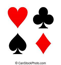 黒, カード, 赤, スーツ