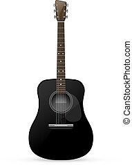 黒, -, ギター, 音響, ベクトル, イラスト