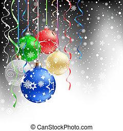 黒, クリスマス, 背景, 安っぽい飾り