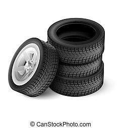 黒, ゴム, 車 車輪