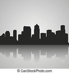 黒, シルエット, の, シアトル, ∥で∥, 反射。, 都市 スカイライン