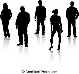黒, シルエット, 人々, reflexion.