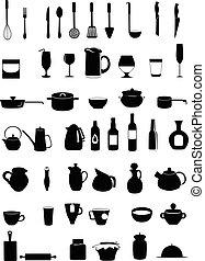 黒, シルエット, 台所用具, セット