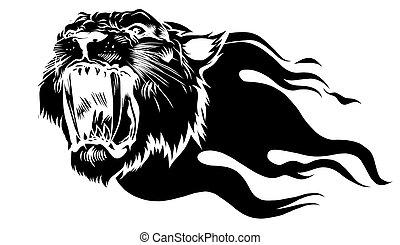 黒, シルエット, tiger, 炎, 頭