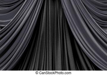 黒, ステージ, 調子, 2, カーテン