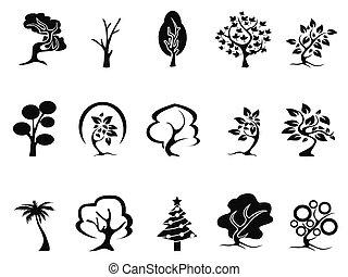 黒, セット, 木, アイコン