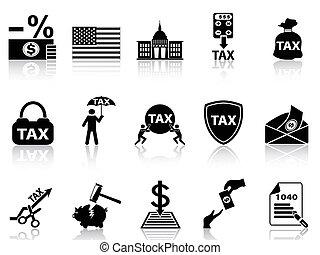 黒, セット, 税, アイコン