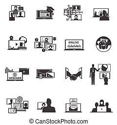 黒, セット, 網, webinar, アイコン, 会議