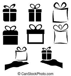 黒, セット, 贈り物, アイコン, ベクトル, 背景, 白