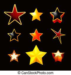 黒, セット, eps10, 星