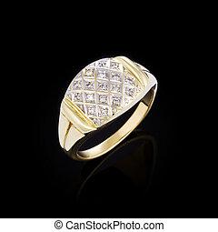 黒, ダイヤモンド, 背景, リング