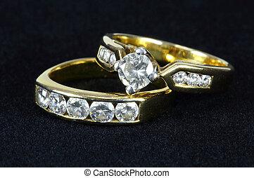 黒, ダイヤモンド, 背景, 2, リング