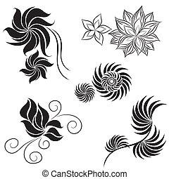 黒, デザインを設定しなさい, 花, 要素