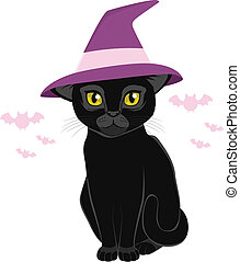 黒, ハロウィーン魔女, 帽子, ねこ