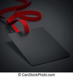黒, バッジ, ∥で∥, neckband, そして, 赤, tape., 3d, レンダリング