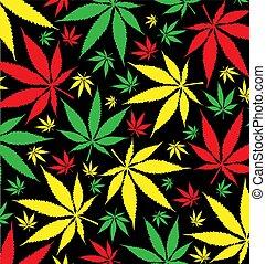黒, パターン, 背景, マリファナ, jamaican