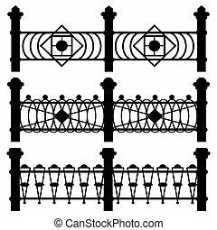 黒, フェンス, コレクション, の, シンボル