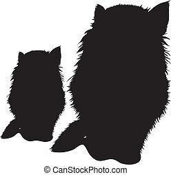 黒, ベクトル, シルエット, il, cats.