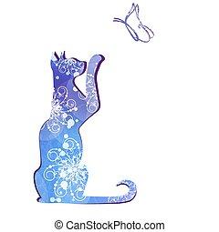 黒, ベクトル, シルエット, illustration., cat.
