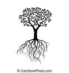 黒, ベクトル, 木, illustration., roots.