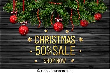 黒, ボーダー, 陽気, バックグラウンド。, フライヤ, 木, 装飾, 金, 新しい, クリスマス, 年, ビジネス, 木, 幸せ, banner., セール