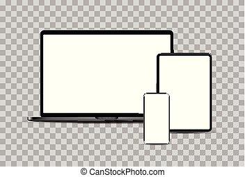 黒, ポータブル, タブレット, devices:, 電子, セット, laptop., smartphone