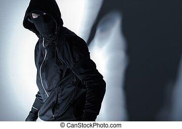 黒, マスク, 強盗