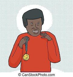 黒, メダル, 金, 人