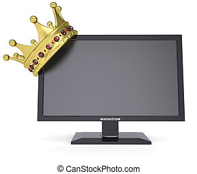 黒, モニター, そして, 金の王冠