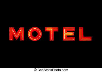 黒, モーテル, ネオン, 隔離された, 印