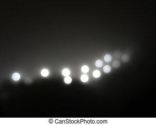 黒, ライト, 光線, 抽象的, 明るい, 通り ランプ, 白, ライト, fog.