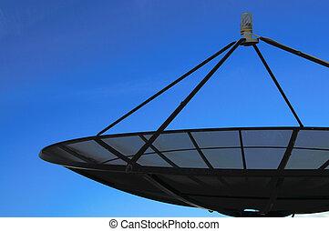黒, 人工衛星, 上に, 青い空