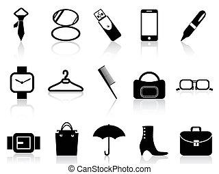黒, 付属品, アイコン, セット