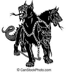 黒, 入れ墨, hellhound, cerberus
