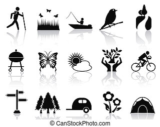 黒, 公園, そして, 庭, アイコン, セット
