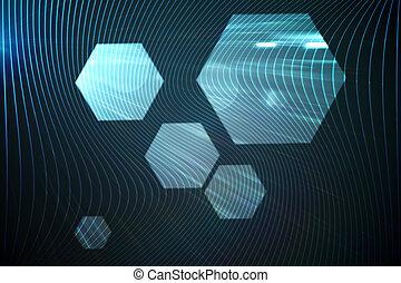 黒, 六角形, 光沢がある, 背景