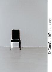 黒, 内部, 空 部屋, 椅子, 白