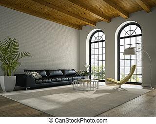 黒, 内部, 3d, レンダリング, 現代, ソファー, デザイン, 屋根裏